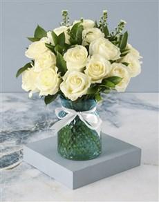 flowers: Whimsical White Roses In Diamond Vase!