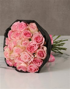 flowers: Pink Rose Bouquet with Black Wrapping!