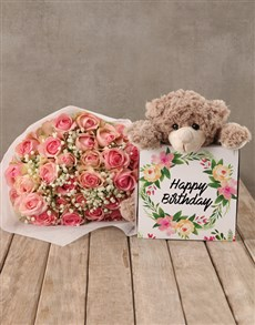 flowers: Pink Rose Bouquet with White Wrapping!