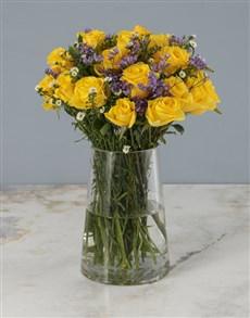 flowers: Sunny Days Yellow Roses Arrangement!