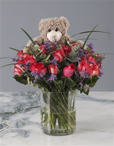 flowers: Plush Cerise Rose Arrangement!
