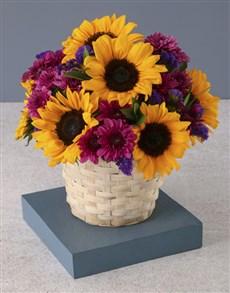 flowers: Sunflower Surprise In White Basket!