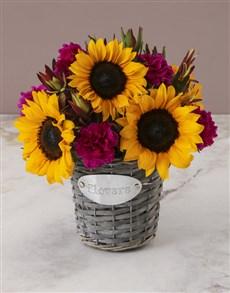 flowers: Sunny Floral Mix In Flower Basket!