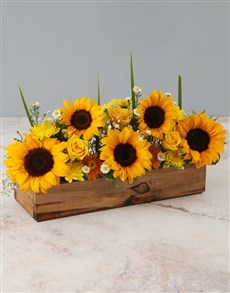 flowers: Sunny Florals In Wooden Crate!