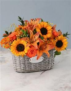 flowers: Sunflower Mix In Flower Basket!