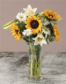 flowers: Sunflowers And Lilies In Vase!