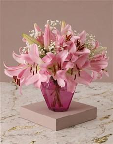 flowers: Stargazer Lilies in Pink Vase!