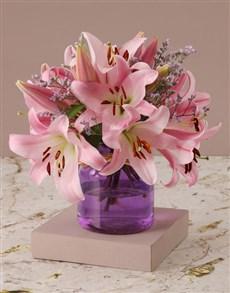 flowers: Stargazer Lilies in Purple Vase!