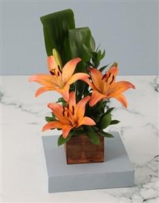 flowers: Orange Lilies in Wooden Box!