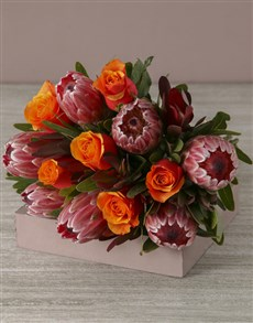 flowers: Mixed Proteas and Peach Roses!