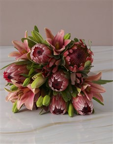 flowers: Mixed Proteas and Pink Lilies!