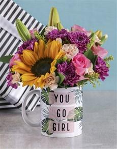 flowers: You Go Girl Floral Mug!