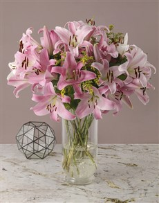 flowers: Stargazer Lilies and Golden Rods in Vase!