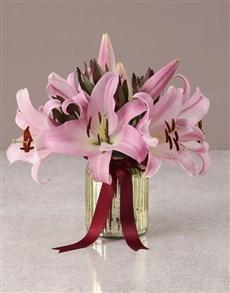 flowers: Stargazer Lilies in Golden Vase!