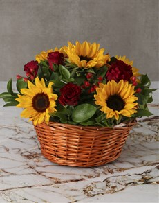 flowers: Cheerful Sunflowers and Roses in Wooden Basket!