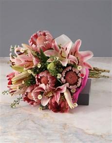 flowers: Protea and Stargazer Bouquet!