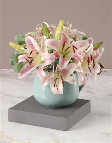 flowers: Stargazer Lilies in Blue Ceramic Jug!