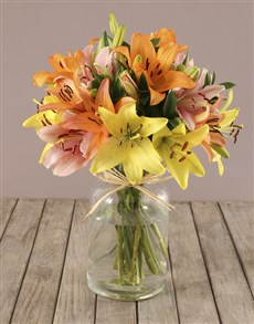 flowers: Mixed Lilies in Bottle Vase!