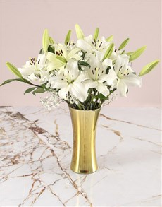 gifts: Asiflorum Lilies In Gold Vase!
