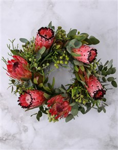 flowers: Pink and Red Protea Wreath!