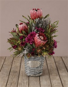 flowers: Mixed King Protea and Purple Sprays Bouquet!
