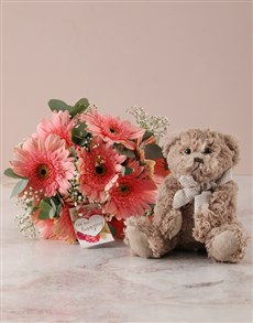 flowers: Pink Gerbera Birthday Bouquet with Teddy!