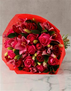 flowers: Pink Lilies and Red Roses Arrangement!