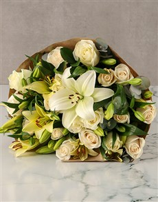 flowers: Cream Lilies and White Roses Arrangement!