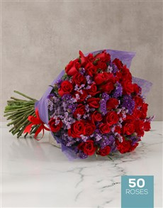 flowers: Extravagant Red Rose Bouquet!