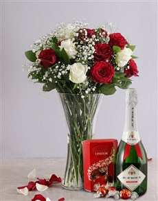 flowers: White and Red Rose Regal Gift!