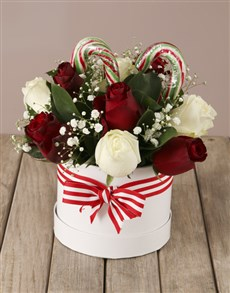 flowers: Candy Cane Rose Hat Box!