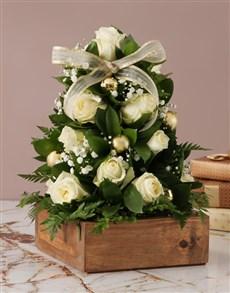 flowers: White Rose Christmas Tree Arrangement!