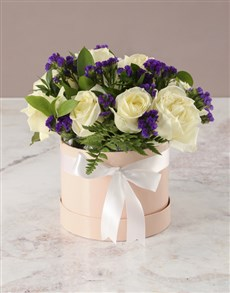 flowers: Wondrous White Roses In Hat Box!