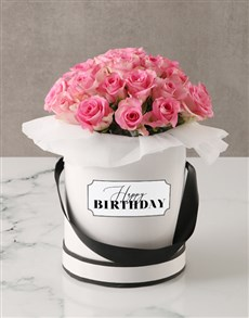 flowers: Pink Roses in Birthday Hatbox!