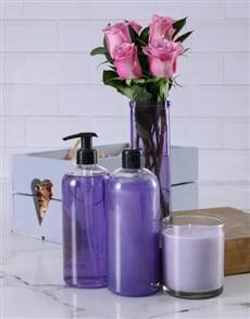 flowers: Lavish Lilac Roses Bath Hamper!