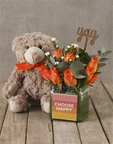 flowers: Choose Happy Orange Roses and Teddy!