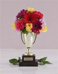 flowers: Worlds Best Colleague Trophy Arrangement!
