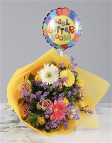 gifts: Mixed Flower Bouquet with Feel Better Balloon!