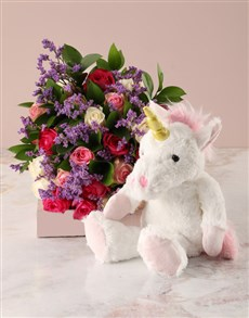 gifts: Bright Roses Bouquet and Unicorn Plush Toy!