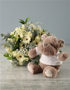 flowers: Pastel Flower Bouquet and Rhino Plush Toy!