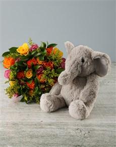 gifts: Sunset Roses and Elephant Plush Toy!