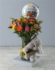 flowers: Welcome Baby Floral Arrangement with Elephant Plus!