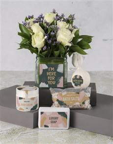 flowers: White Roses Indulgence Hamper!