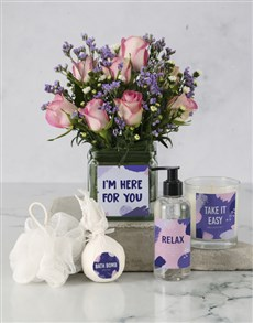 flowers: Here For You Pink Roses Hamper!