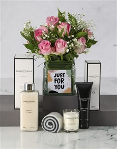 flowers: Just For You Pink Roses Hamper!