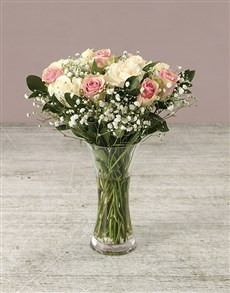 gifts: Delicate Shades of Mixed Pastel Roses in Vase!