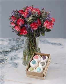 flowers: Blissful Cerise Roses Combo!
