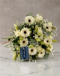 flowers: With Sympathy Lilies and Roses Arrangement!