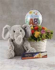 gifts: Mixed Roses Welcome Baby Basket!