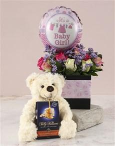 gifts: Mixed Roses Baby Girl Hamper!